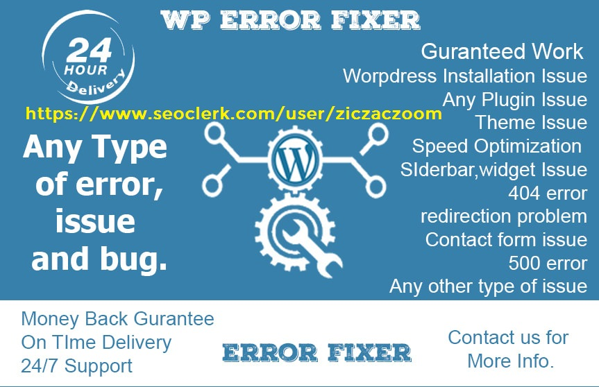 Fix WordPress Errors,  Bugs,  PHP,  Technical Problem,  Within 1 Day