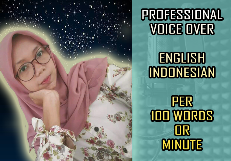 Record a High-Quality Beauty Girl Voice Over In English and Indonesian Per Minute