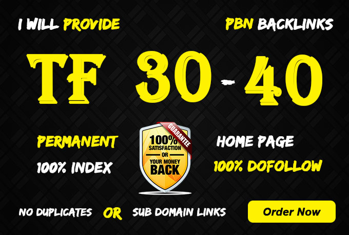 Provide you 10 high TF 30+ PBN Backlinks