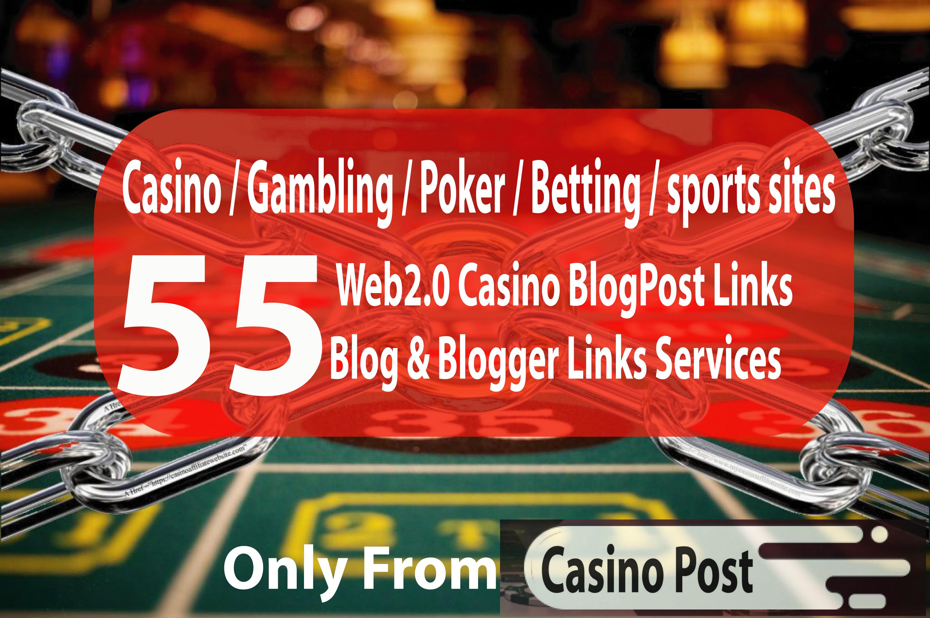 55 Advance Casino Blogpost- Casino / Gambling / Poker / Betting / sports sites From Web2.0 site