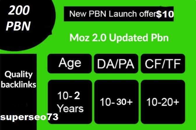 Build 200 High PA DA TF CF HomePage PBN Backlinks - Dofollow Quality Links for 10