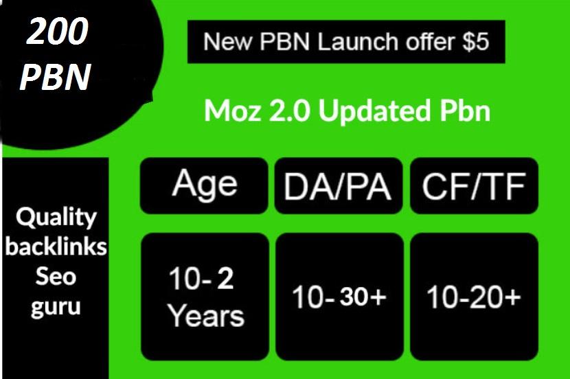 Build 200 High PA DA TF CF HomePage PBN Backlinks - Dofollow Quality Links for 5