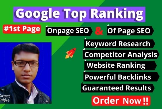 I will rank guaranteed any website in google first page with white hat SEO