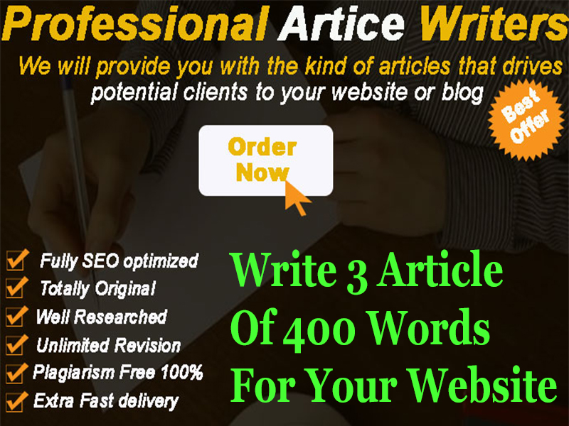 Write 3 Articles of 400 word only