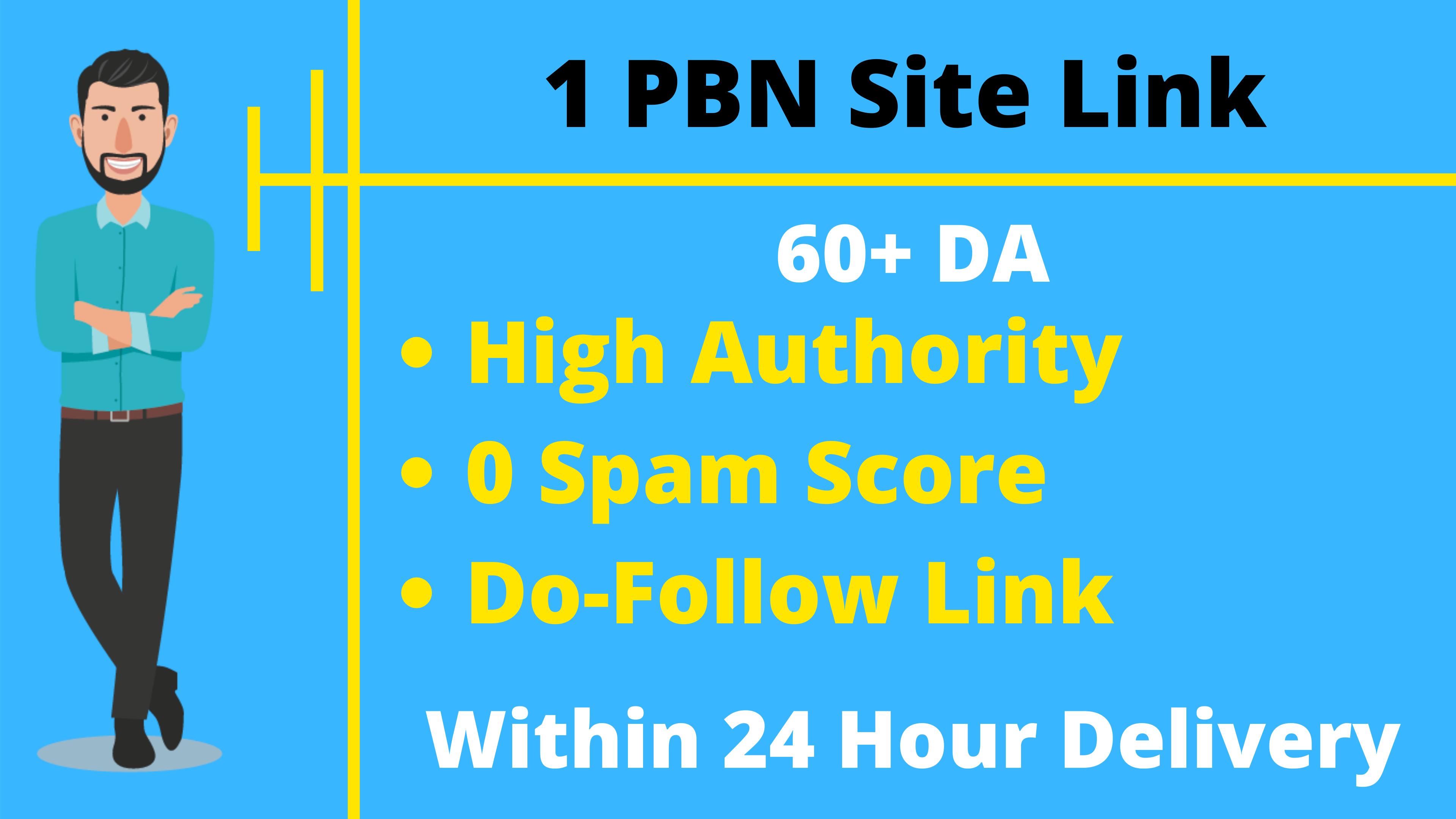 1 PBN Site Dofollow Backlink 60+ DA High Authority SEO Link