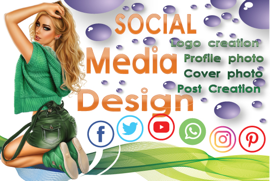 We can design your Social media profile photo,  Cover photo,  Post,  Logo