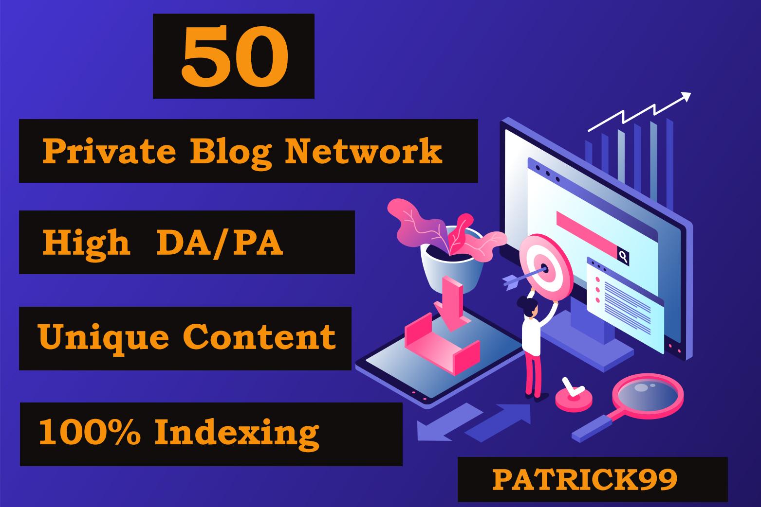 Make 50 PBN Do Follow backlinks On High DA PA