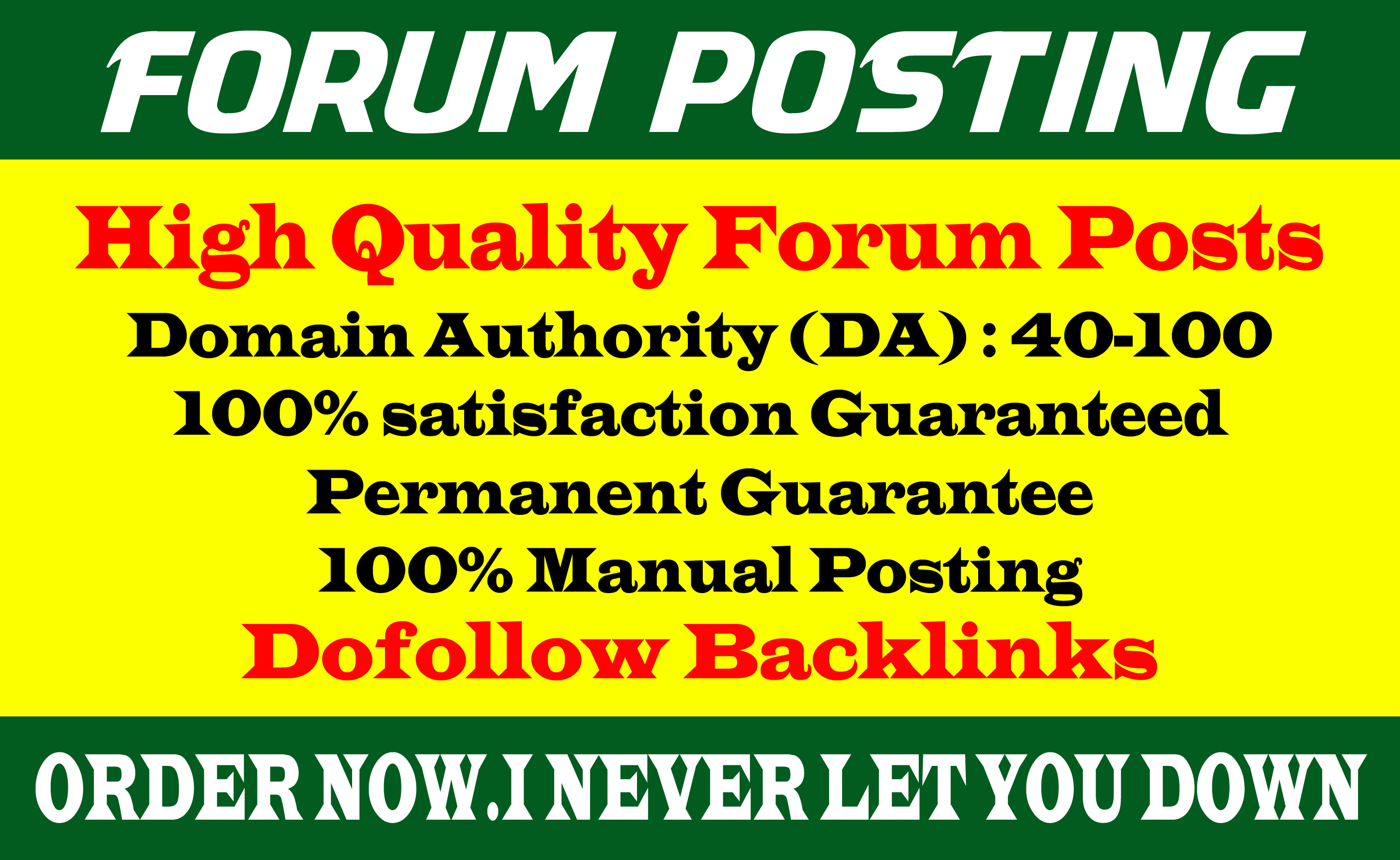 Provide 40 dof0llow forum posting backlinks on High DA Site