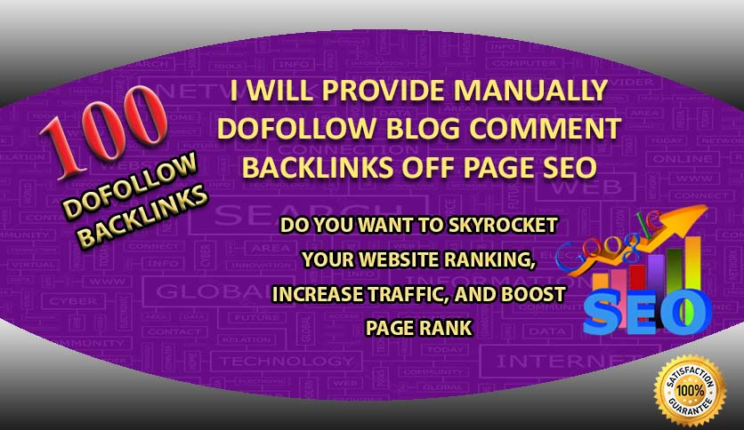 I will do manually 100 dofollow blog comment backlinks off page seo