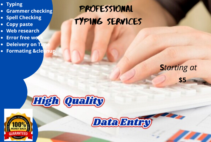 do typing, copy paste and any data entry work professionally