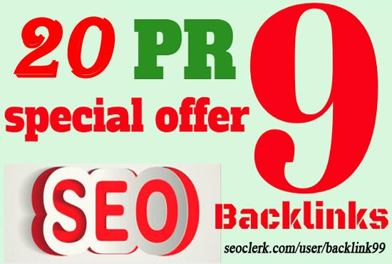 Provide you 20+ USA PR9 Domain Authority 90+ Backlinks