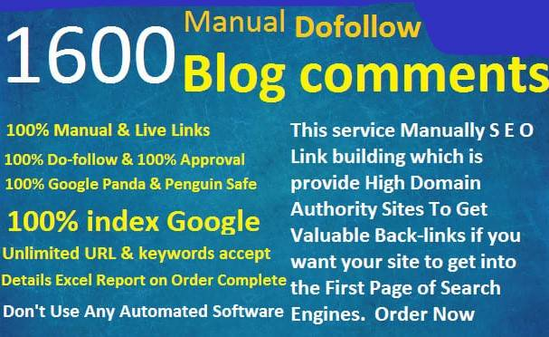 I will create backlinks from 1600 Top quality dofollow backlinks for your site ranking