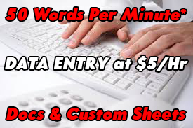 Manual Data Entry New File,  Edit File & No Extra Charges