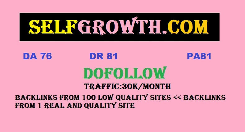 Publish Article On Selfgrowth with DA76 DR81 PA81