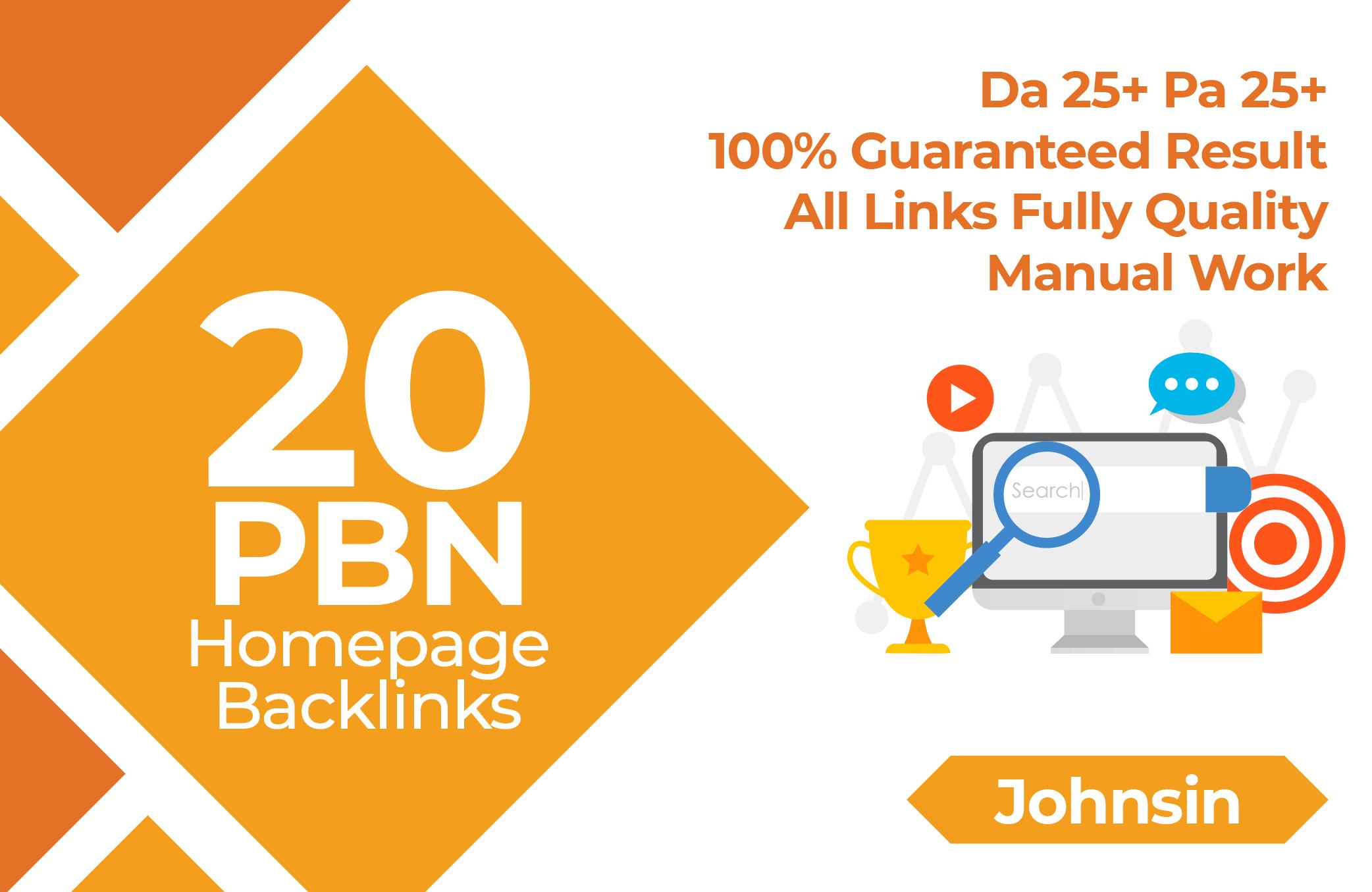 Create 20 high da pa tf cf homepage pbn dofollow permanent links