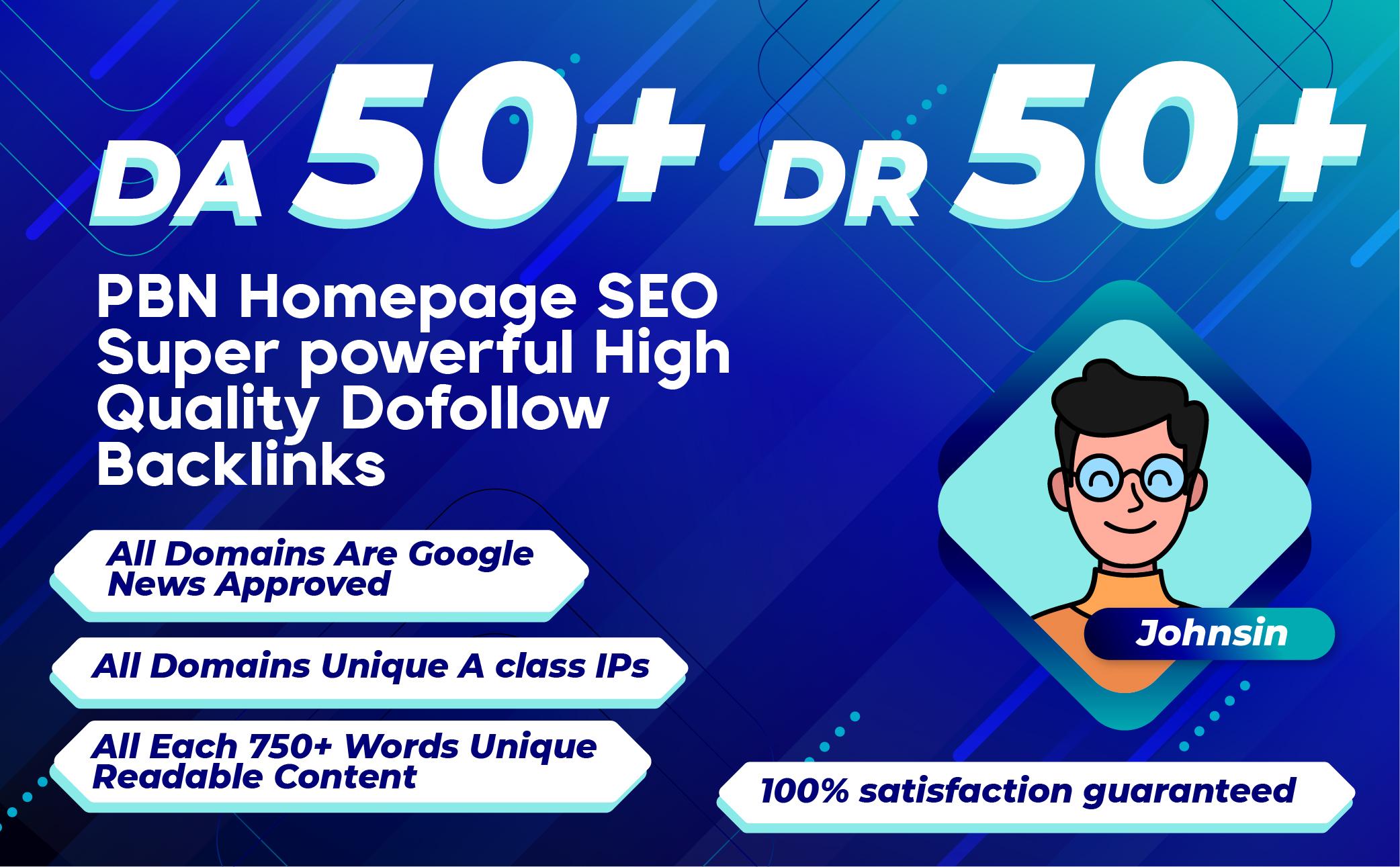 Build 20 PBN Permanent DA 50+ DR 50+ Homepage Dofollow SEO powerful High Quality Dofollow Backlinks