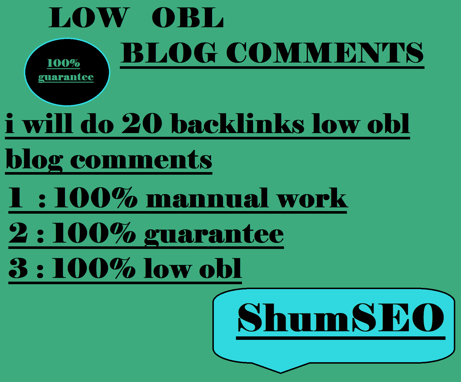 i will do 20 backlinks low obl blog comments