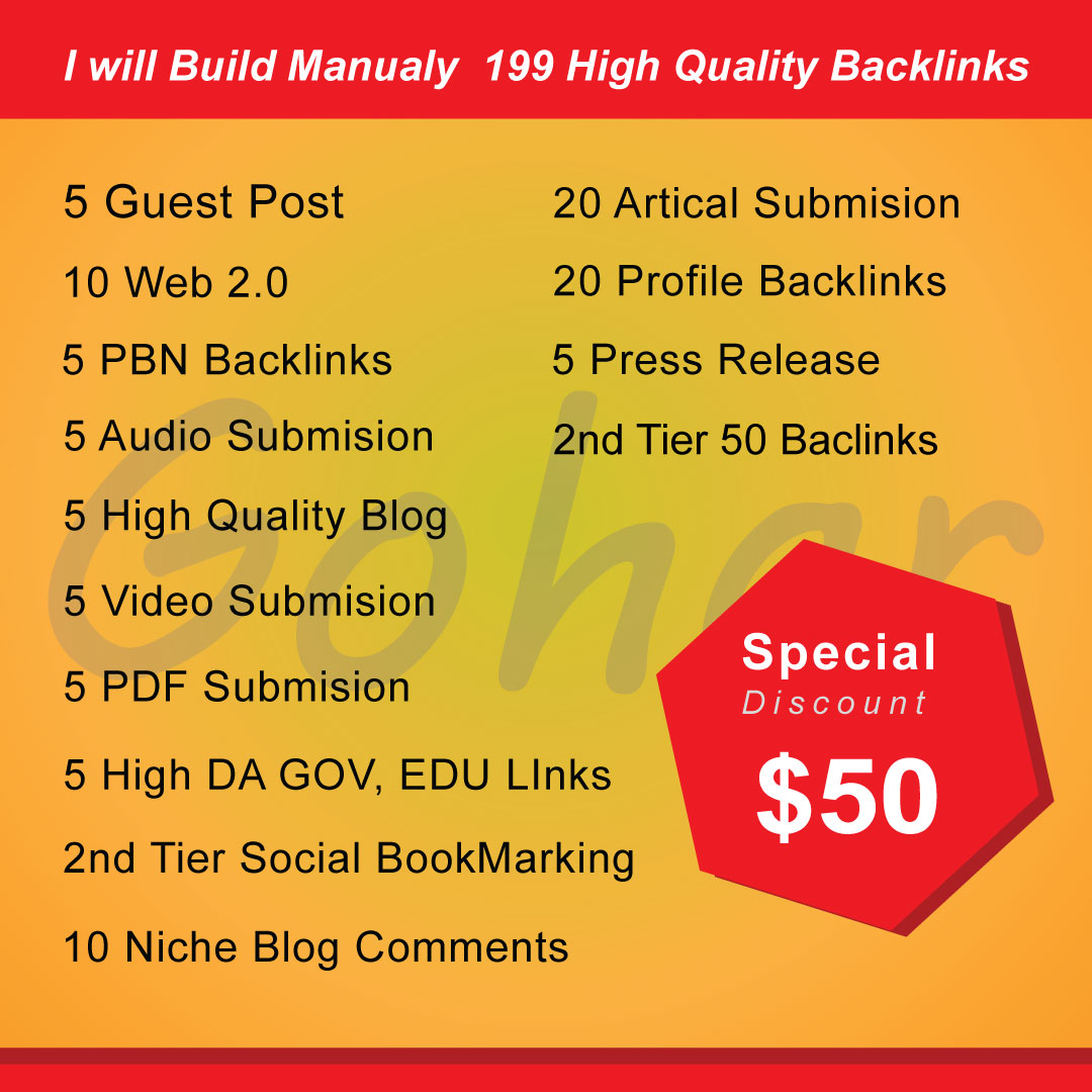 I will Build Manualy 199 High Quality Backlinks