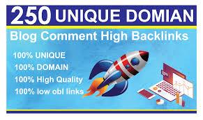 250 unique domain Do-folow High DA Blog Comment Backlinks
