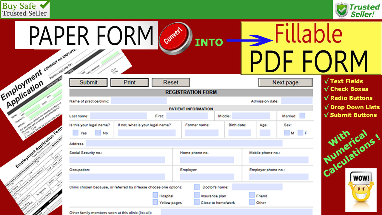 develop 1 to 5 fillable PDF forms for 10usd