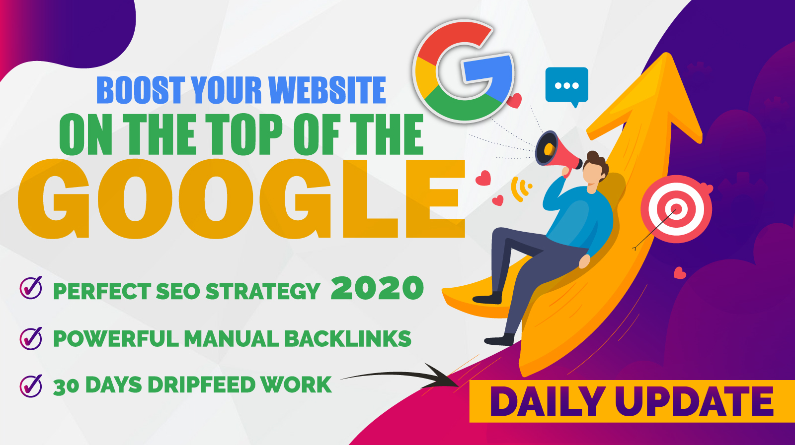 Boost your website on the 1 on the google with out 30 days dripfeed packages