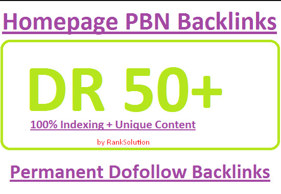 RankSolution- 3 Permanent DR 50+ Homepage PBN Dofollow Backlink