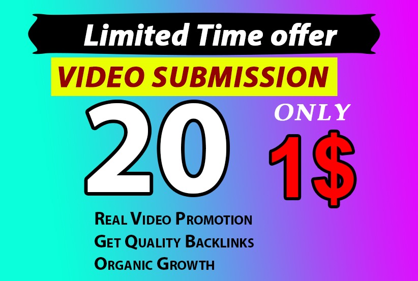I will do video manually Video Submission on 20 High Ranking Sites