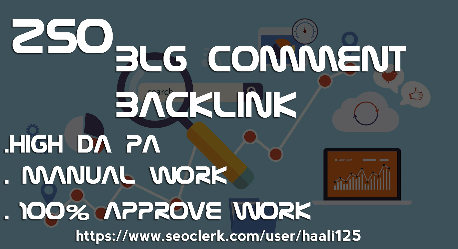I will 250 manual dofollow blog comment backlinks with high da pa