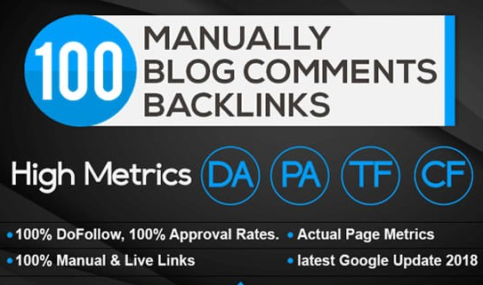 100 unique domain Blog Comment Backlinks High Tf Cf Da Pa 30 Plus