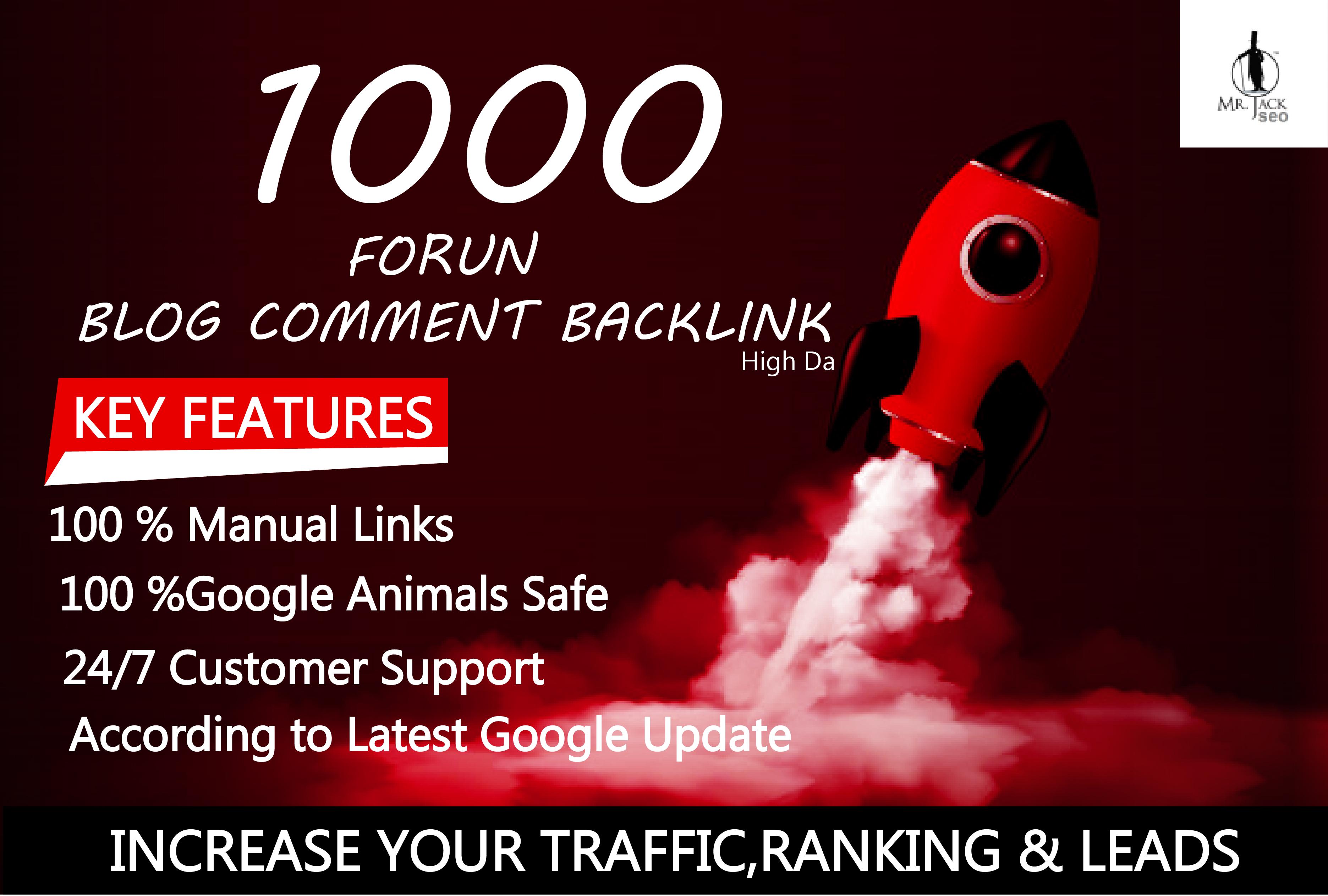 1000 forum Blog Comment Backlinks High DA