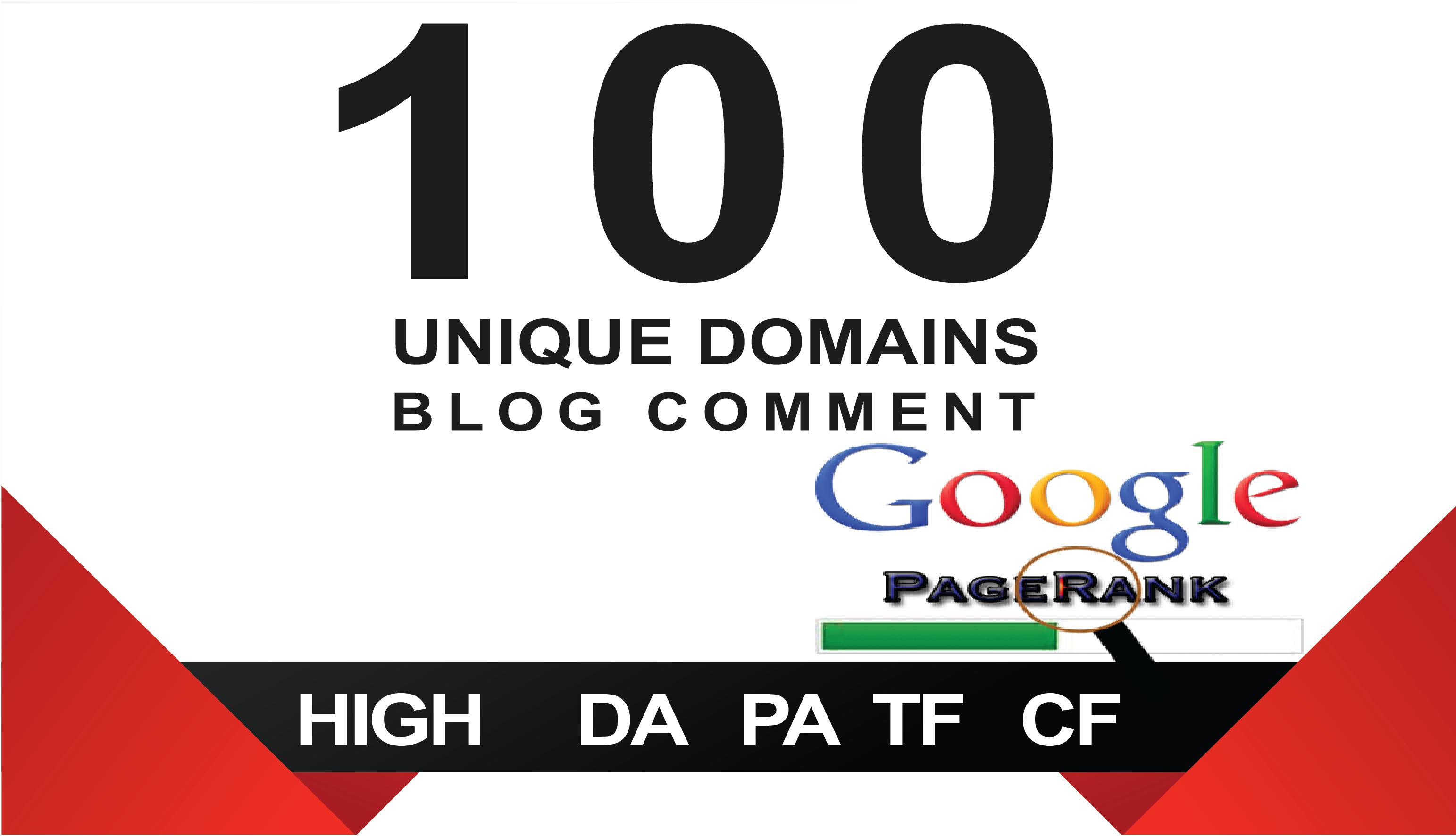 I will 100 Unique Domain Blog Comment Backlinks High DA. PA
