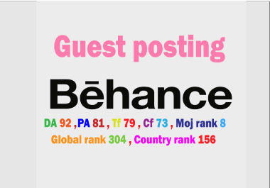 I will write & publish guest post backlinks on Behance. net