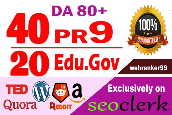 Provide 60 white hat Pr9 & Edu. Gov SEO dofollow backlinks,  link building