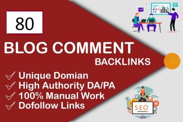 Do 80 dofollow blog comment high da 20+