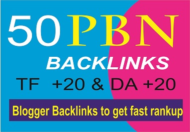 50 Homepage PBN Blog backlinks - TF +20,  FC up to 50 and DA +40 fast ranking help at Google