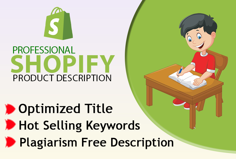 I will write shopify product description,  SEO title,  and related tags