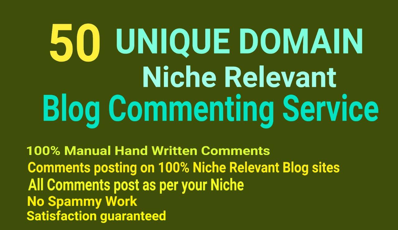 50 Unique Domain Niche Relevant Blog Comments Manually Hand Written Low OBL