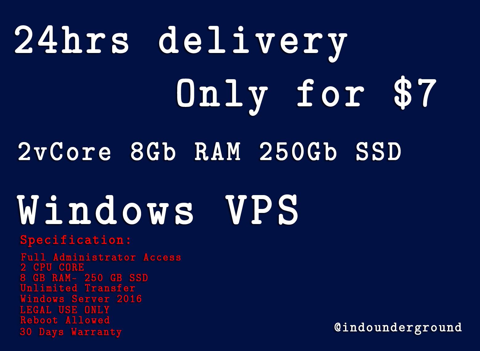 Windows VPS 2vCore 8Gb RAM 250Gb SSD