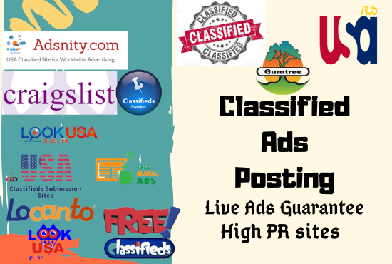 I will post 40 manual classifieds ads posting in top USA ads site