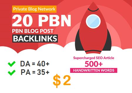 DA 40+ PA 35+ pr 5+ web 2.0 20 PBN UNIQUE 20 sites