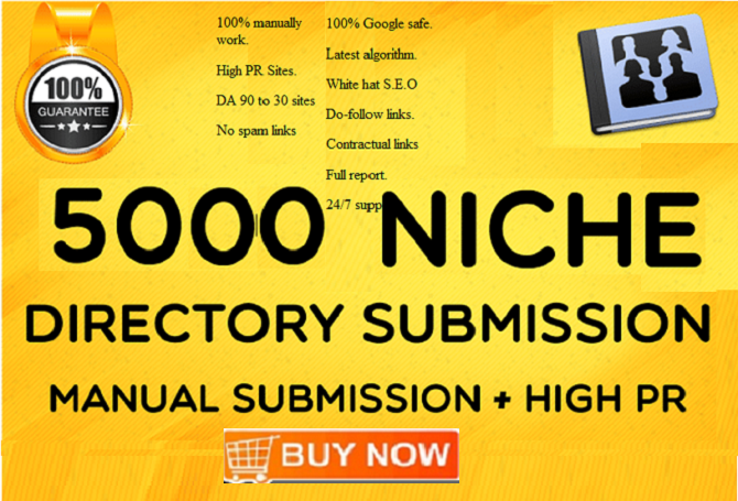 Do 5000 Niche Directory Submission Backlinks On PR9 To PR3 With High DA PA TF CF