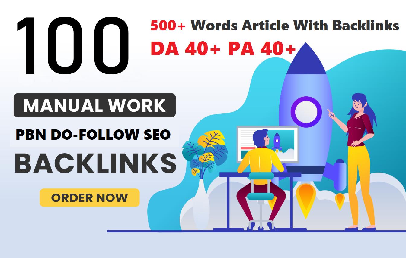 Unique 100 Sites DA 50+ PA 40+ PR 5+ Web 2.0 100 PBN