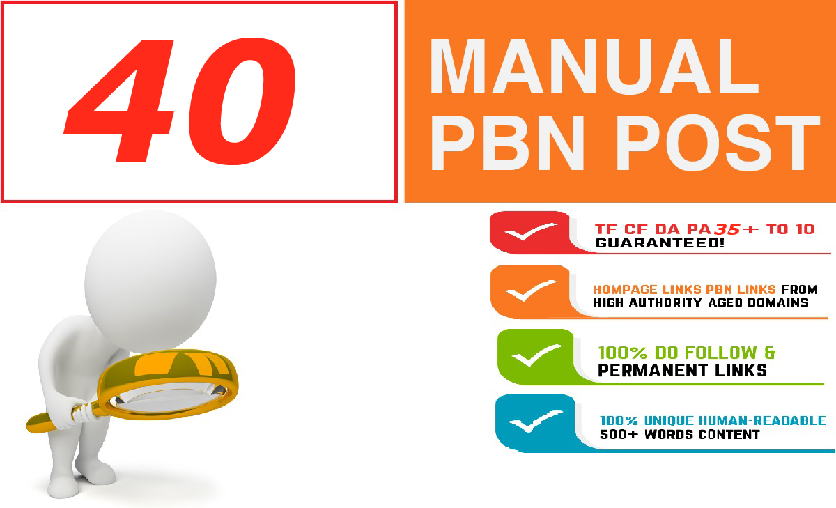 Build 40+ Backlink and 30+ Da 35+ PA DOFOLLOW and Homepage pbn with 40+ unique websile link