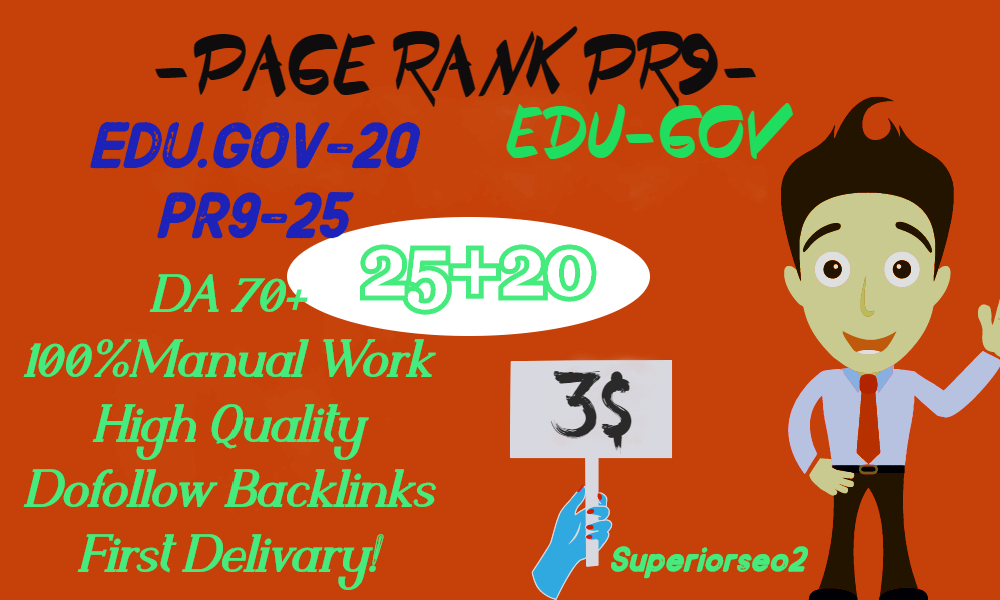 MANUALLY DO 25 PR9 DA 70-100 + 20 EDU-GOV HQ Authority SEO Backlinks