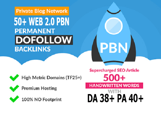 Build 50 Primium Website 2.0 PBN DA Backlinks 38+ PA 40+ SEO in Unique 50 website Links
