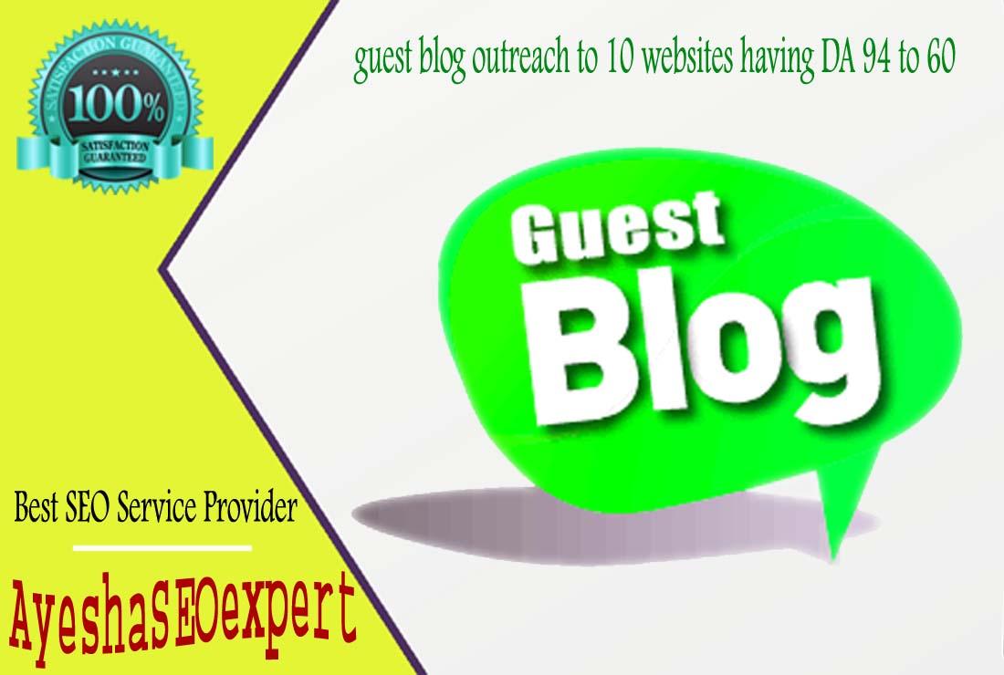 guest blog outreach to 10 websites having DA 94 to 60