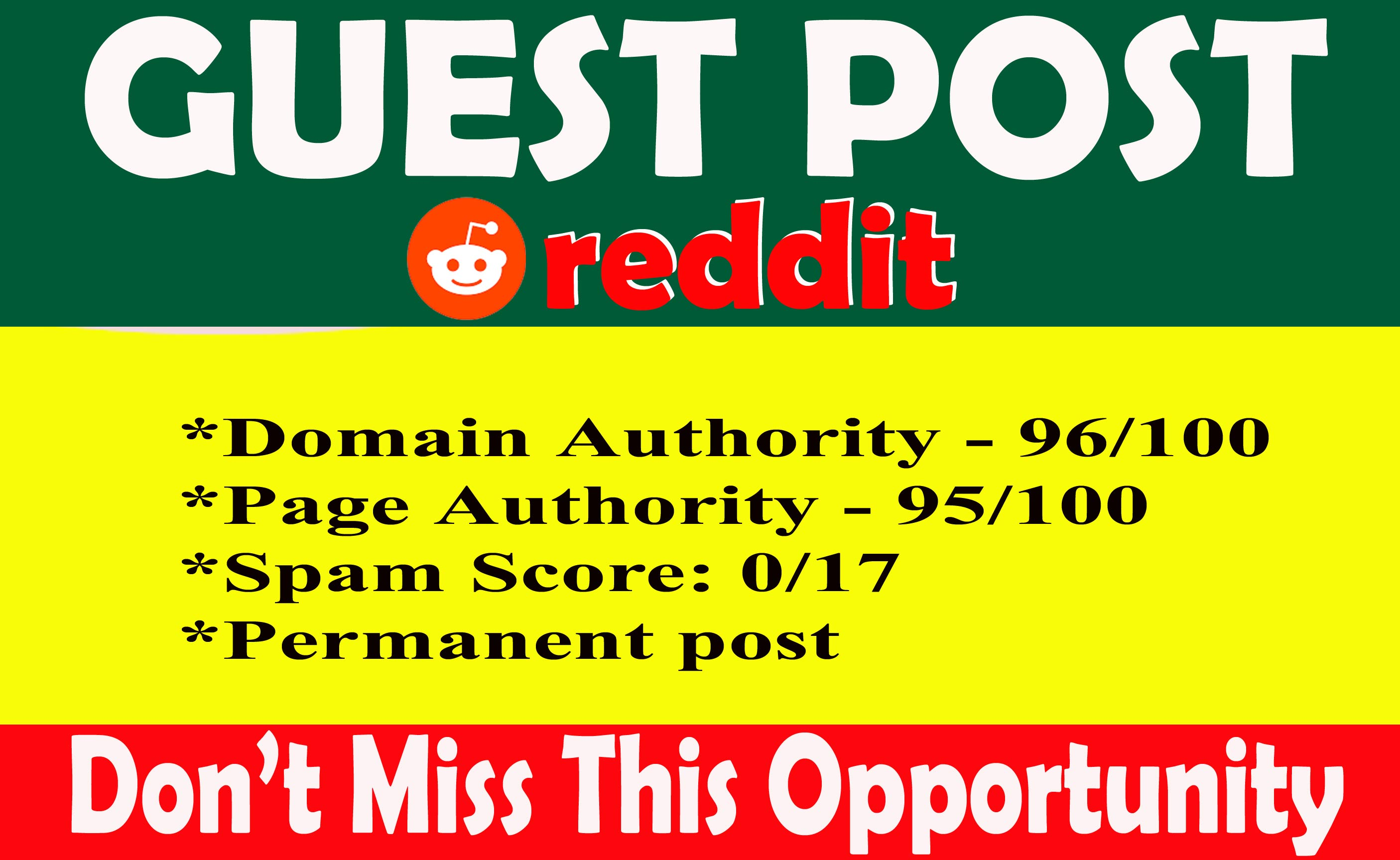 Guest post on REDDIT With 100 Index Guaranteed permanent backlink DA99 PA96