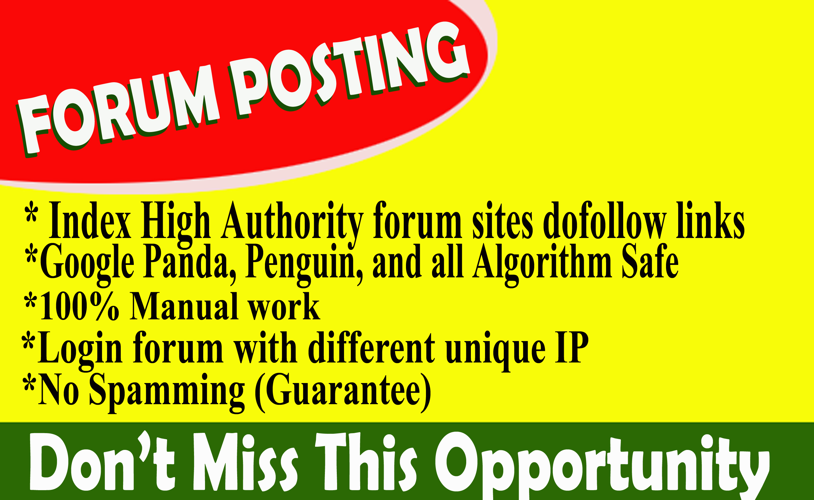 Provide 100 forum posting spam score 10 below dof0llow backlinks on high DA30+