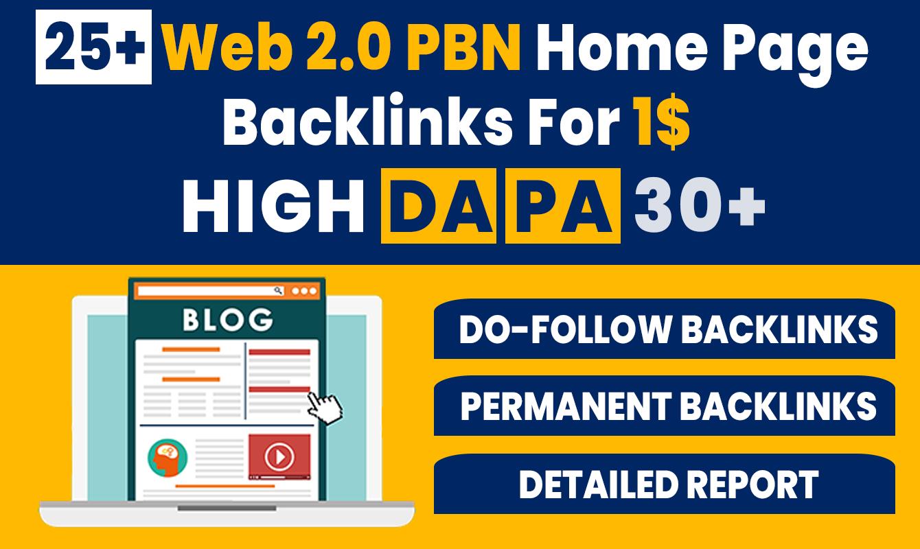 25+ High DA PA Permanent Web 2.0 PBN Home Page Back-links