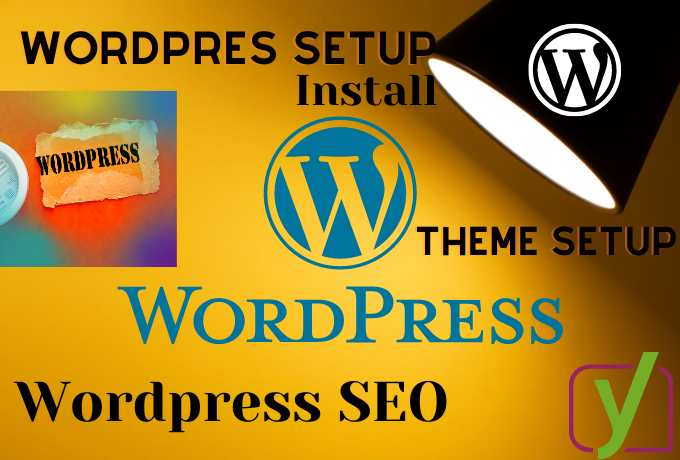 WordPress install,  theme setup,  plugin install or Basic SEO